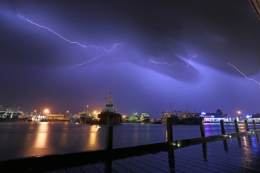 Lightning over Fishing boat harbour3