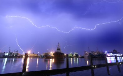 Lightning over Fishing boat harbour4