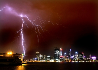 Lightning over perth CBD December 5 2012 01