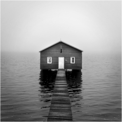 Boatshed in the fog_bw
